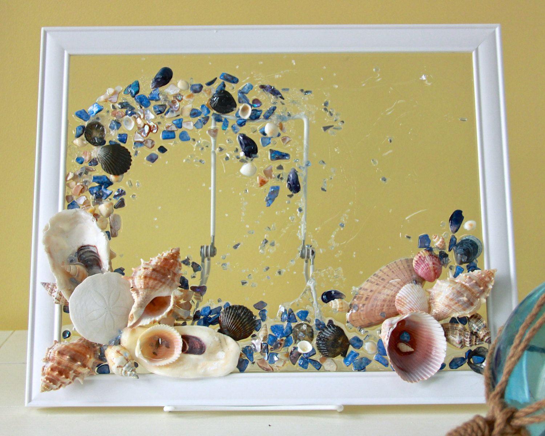 Sea Glass Art for Beach House Decor, Seashell Wave Art ,Glass Art ...