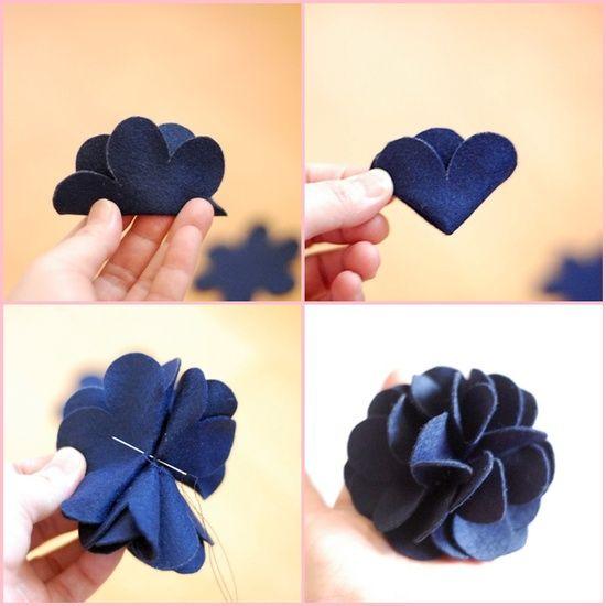 blume lernen wie man stoffblumen machen kann stoffblumen pinterest stoffblumen machen. Black Bedroom Furniture Sets. Home Design Ideas