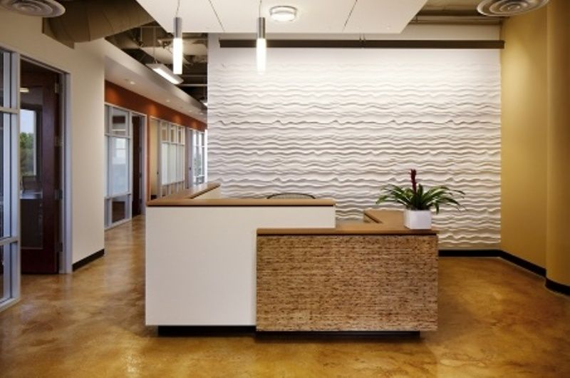 Furniture: ikea reception desk as main furniture in lobby white and