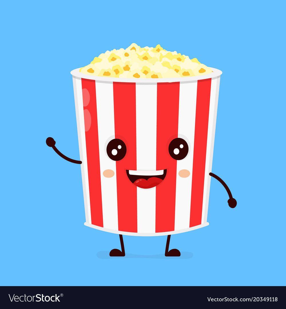 Funny happy cute smiling bucket of popcorn vector image on