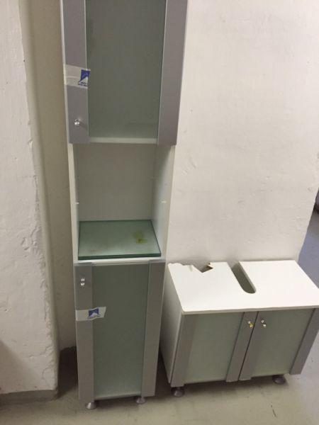 Badezimmerschrank H193xB32xT31 Waschbeckenunterschrank