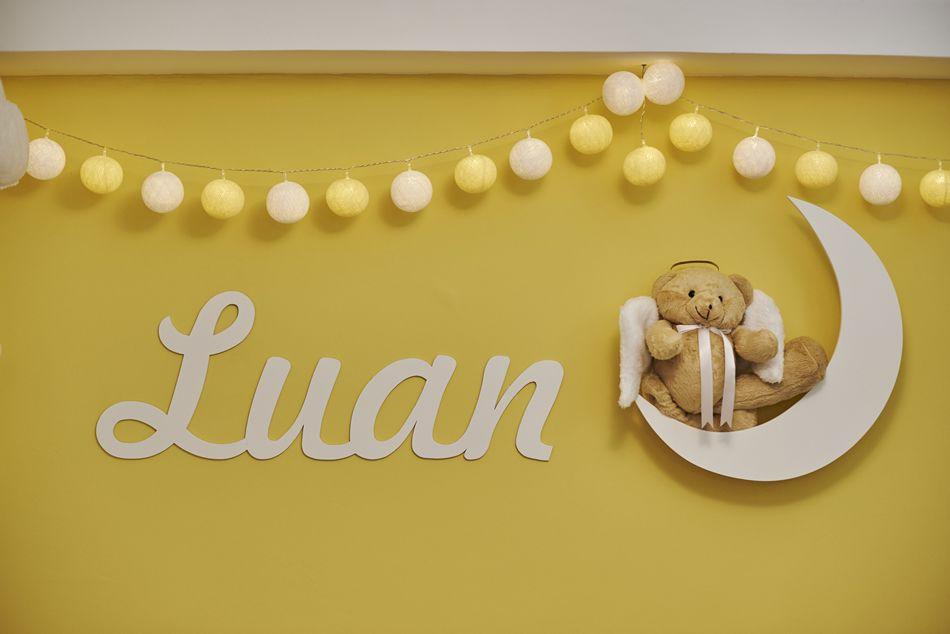 O painel com nome personalizado do Luan ficou um show no quarto de gêmeos  combinando com 6cbb9cc803