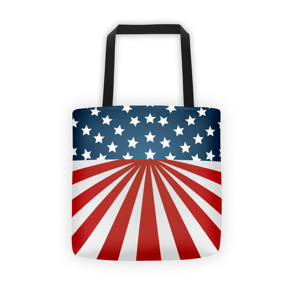 Tote Bag– American Flag 100% spun polyester weather resistant fabric Dual handles 100% natural cotton bull denim Bag 15″ x 15″ (38.1cm x 38.1cm) Made in California