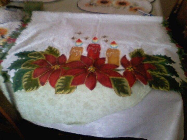 Mantel de navidad pintado a mano mi trabajo pinterest - Manteles de navidad ...