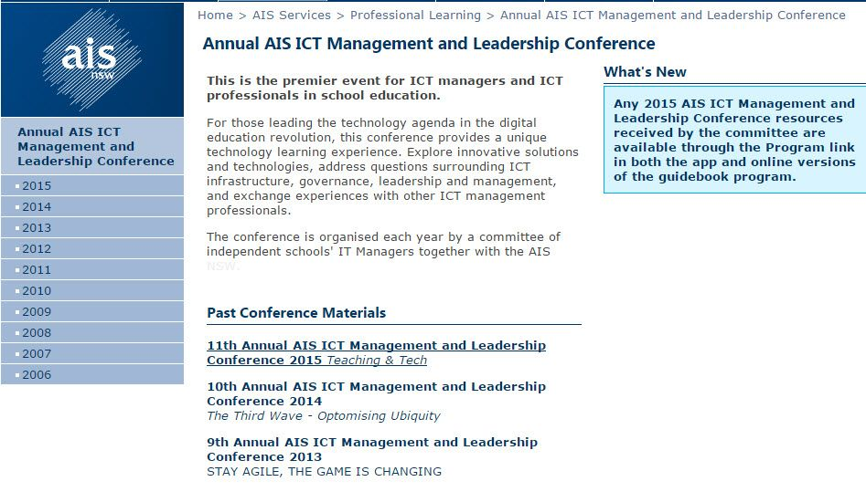 Collected AIS IT Leadership conference resources over