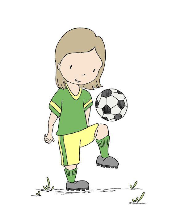 Girl Nursery Art -- Girl Soccer Player