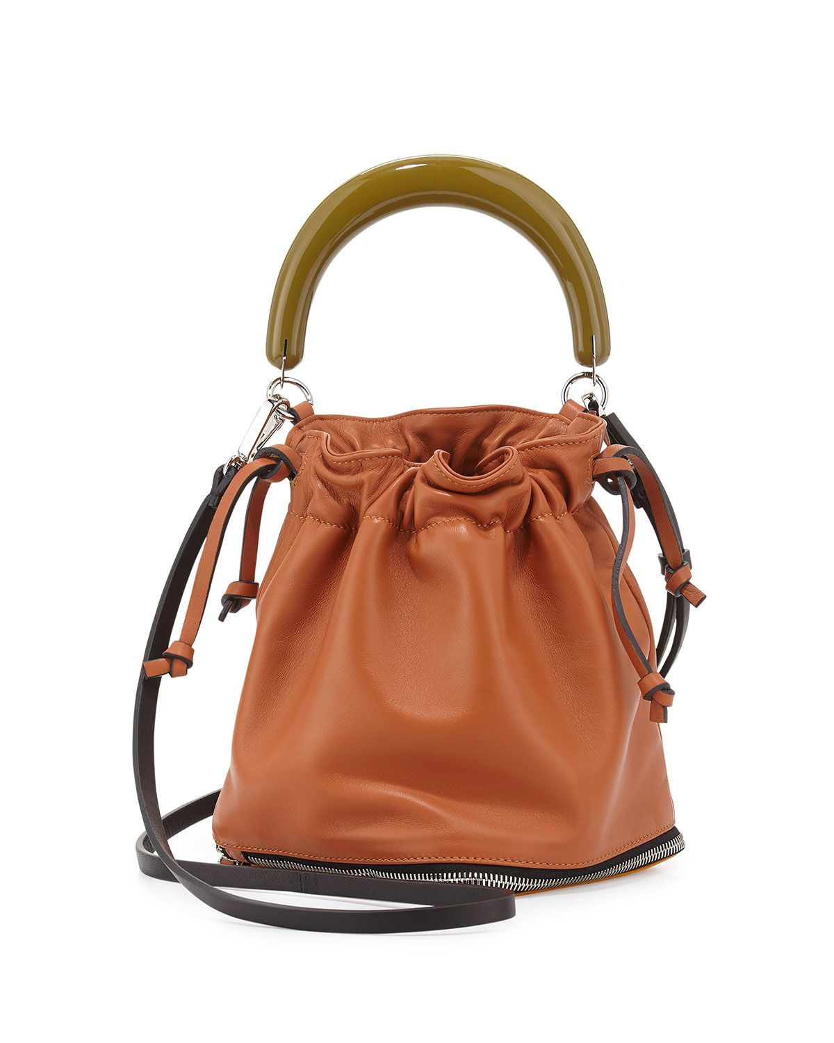 Small Expandable Zip Satchel Bag, Women's, Brown Multi - Marni