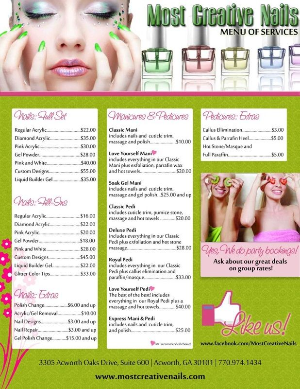 Menu of Services for Most Creative Nails