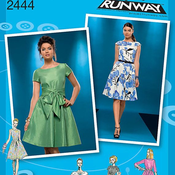 Simplicity K2444 Ladies Project Runway 6 Vintage 1950s Classic Dresses Sewing Pattern High Fashion Retr Dress Patterns Dress Making Patterns Runway Pattern