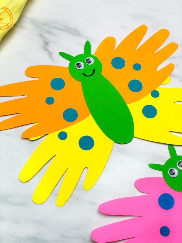 Photo of Handabdruck-Schmetterling-Basteln Für Kinder