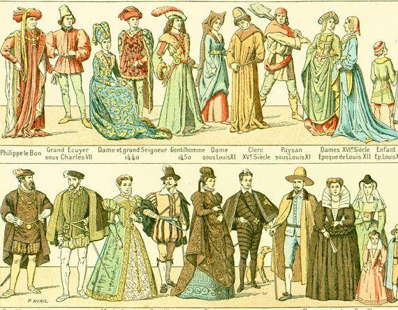 1897 Costume, Large Size, Antique Fashion, Historical Larousse print ...