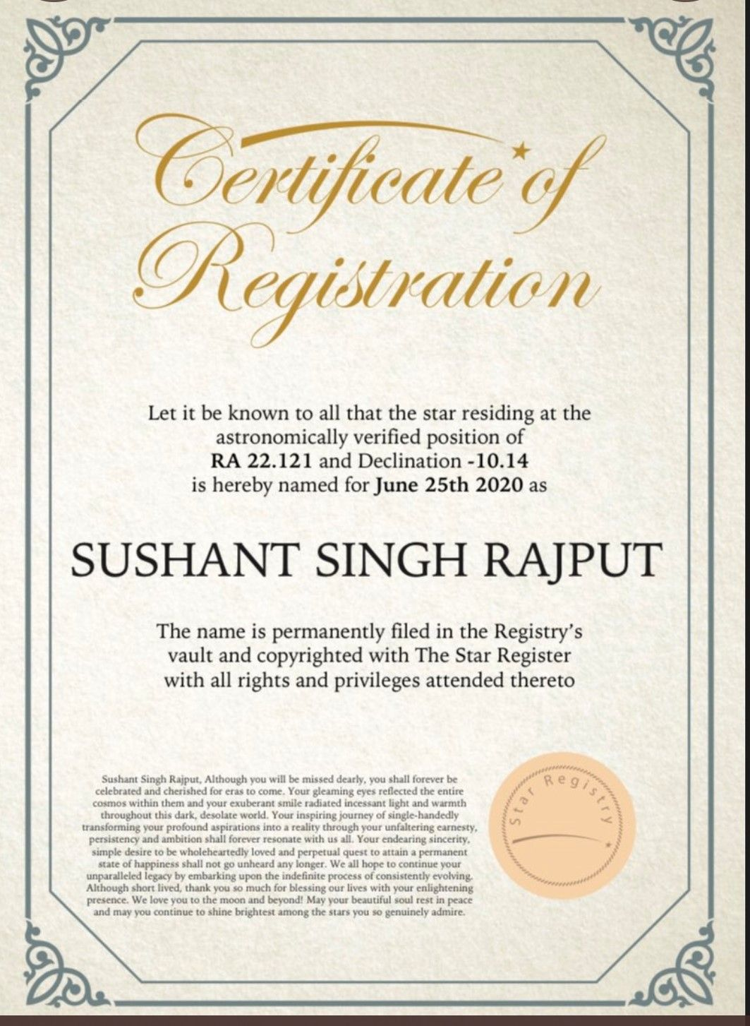 Has Any Star Been Named After Sushant Singh Rajput? in