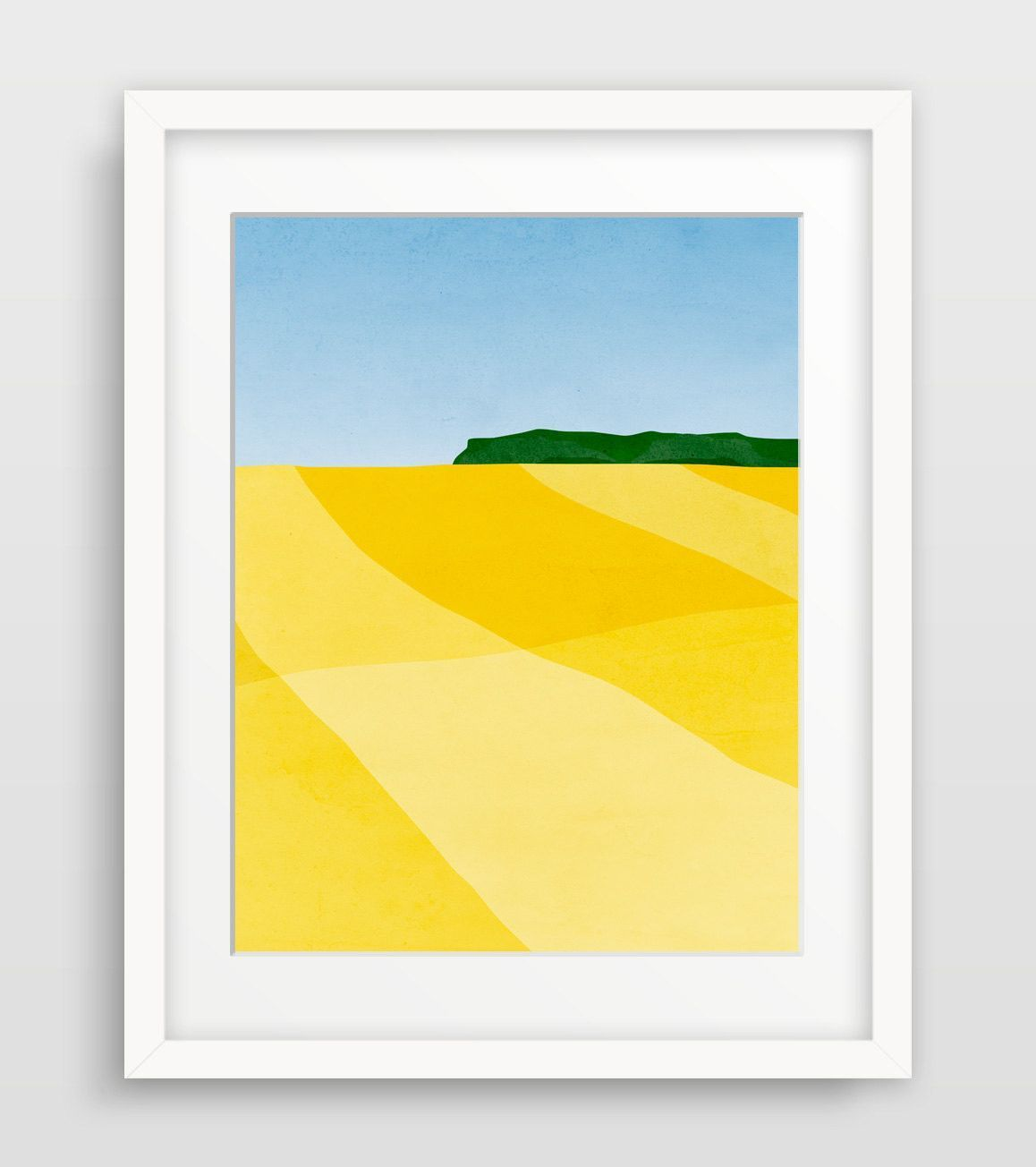 Modern abstract landscape of canola fields in bright yellow and blue ...