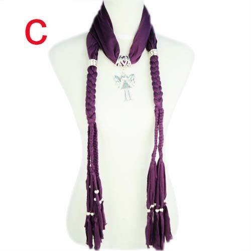 purple cotton polyester scarf with CCB beads alloy pendant NL-1758C #Welldone #Scarf