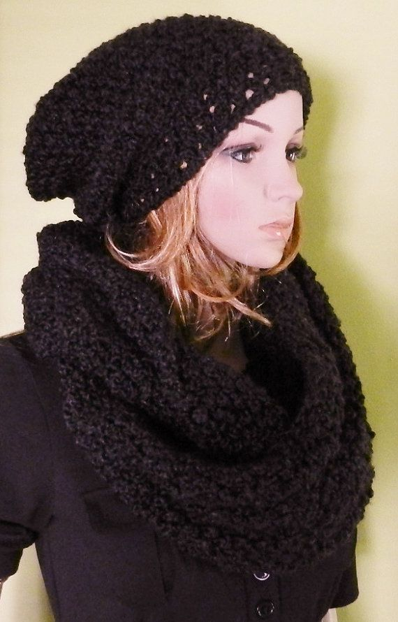 hand knitted HIPPIE Slouch Hat Scarf Set Large by picoloknitting, $75.00