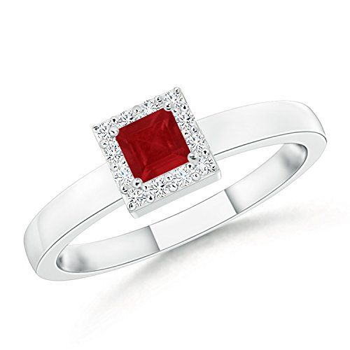 Angara July Birthstone Ruby and Diamond Engagement Ring in Platinum 6SQyF4