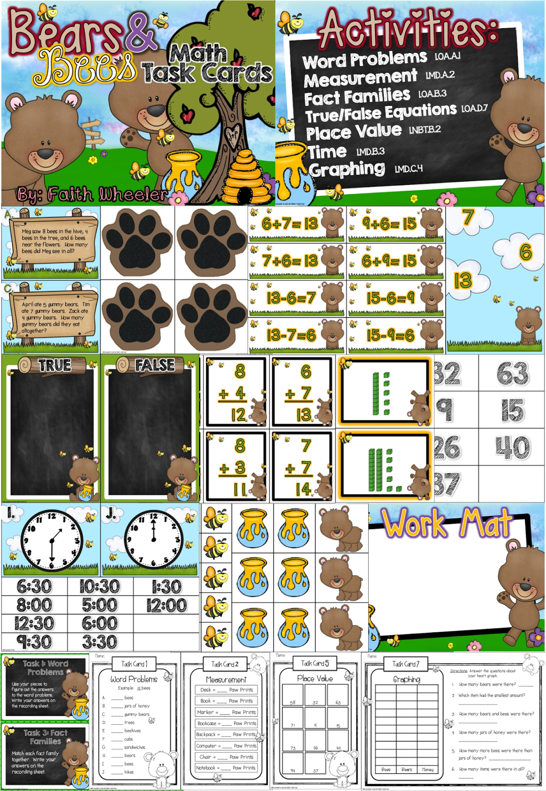 Bears And Bees Task Cards