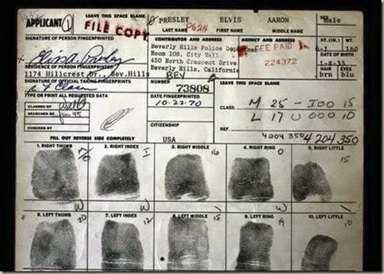 Elvis' fingerprints (I think this was taken when he applied for a gun licence)