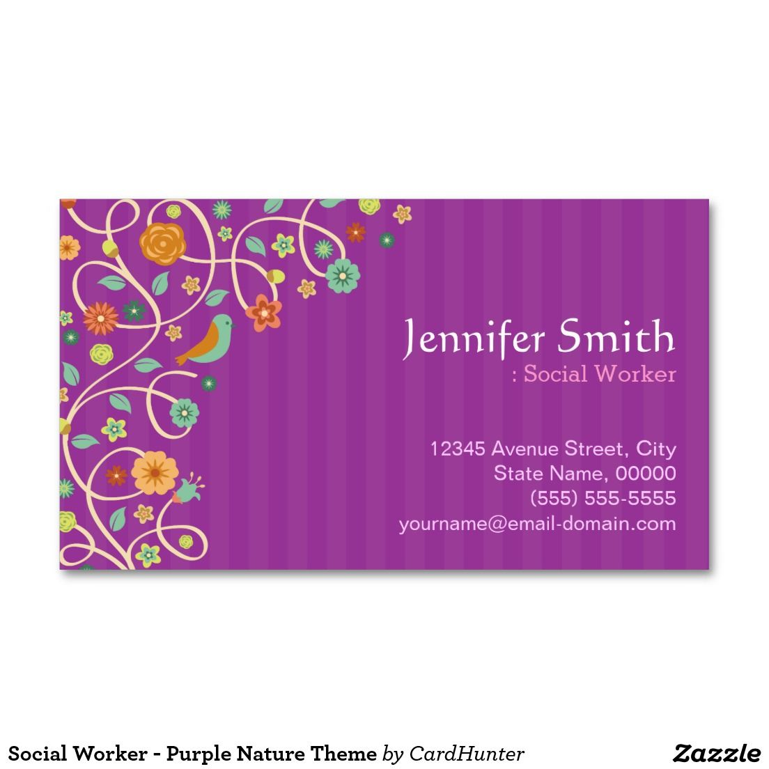Social Worker - Purple Nature Theme Business Card | Business cards ...