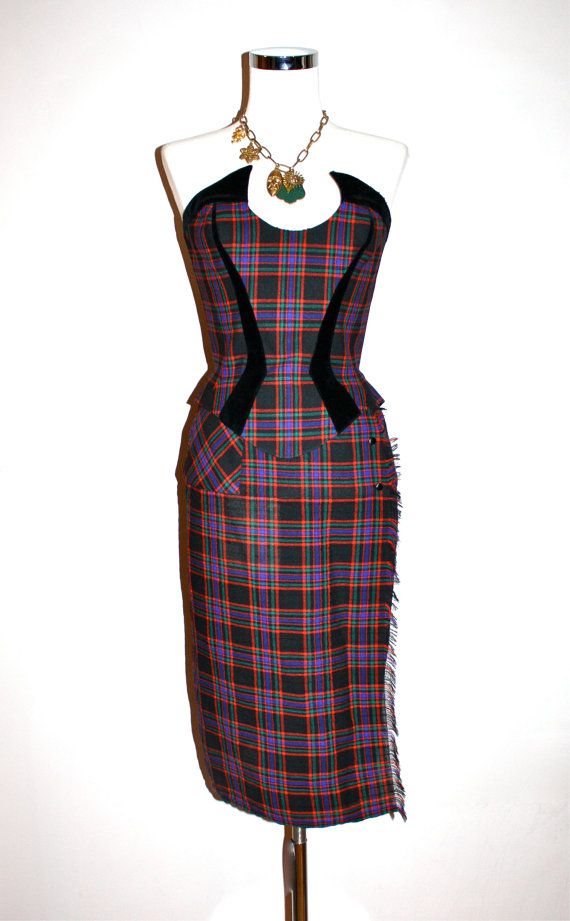 91cc22d2c8b5 THIERRY MUGLER Vintage Strapless Tartan Dress Bustier Skirt Outfit -  AUTHENTIC | Vintage | Dresses, Thierry mugler, Skirt outfits
