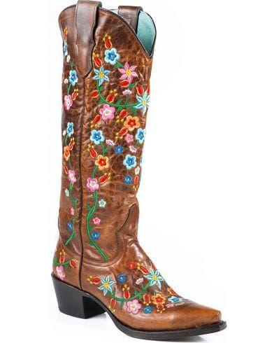 affa272e69e Stetson Women's Flora Embroidered Western Boots - Snip Toe | Cowboy ...