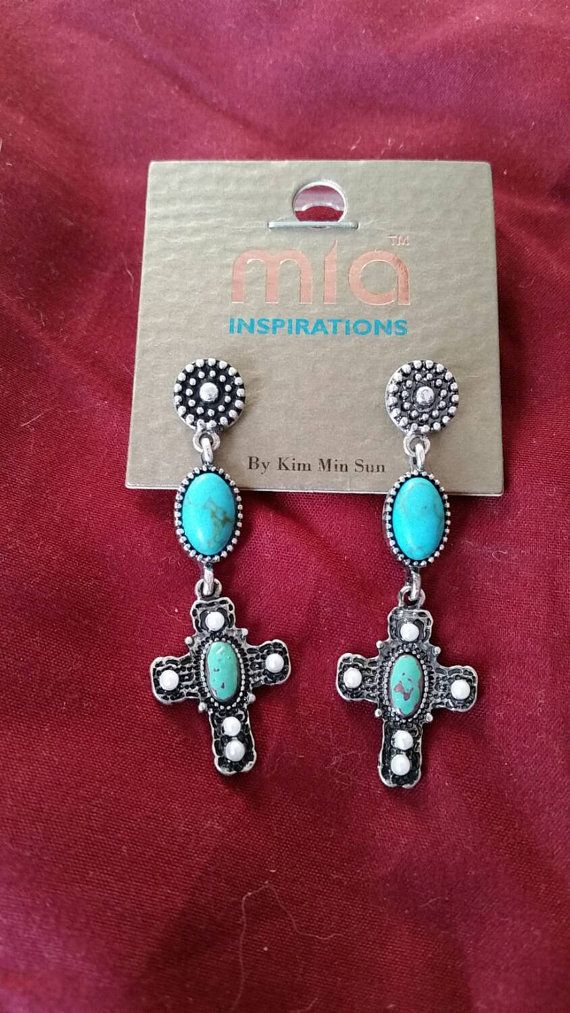 Check out this item in my Etsy shop https://www.etsy.com/listing/238451706/cross-and-turquoise-drop-earrings