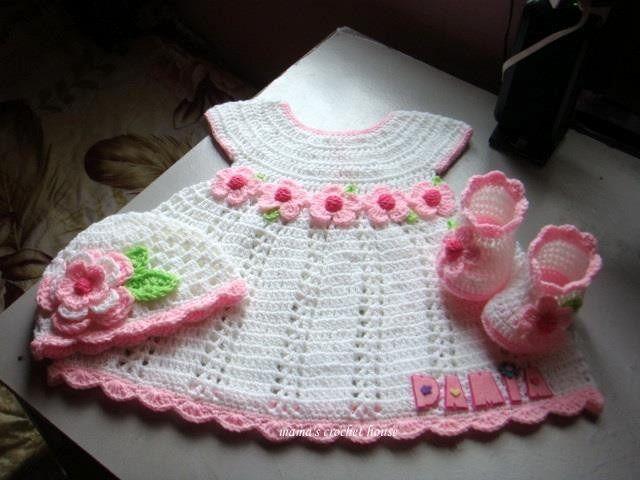 Resultado de imagen para vestidos tejidos para niña recien nacida ...