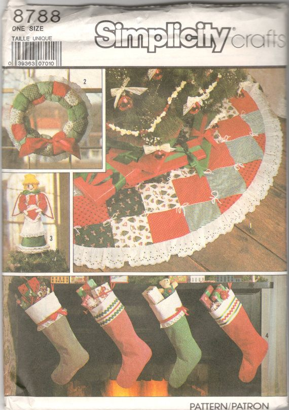 1980s Simplicity 8788 Christmas Tree Skirt Fabric By Mbchills