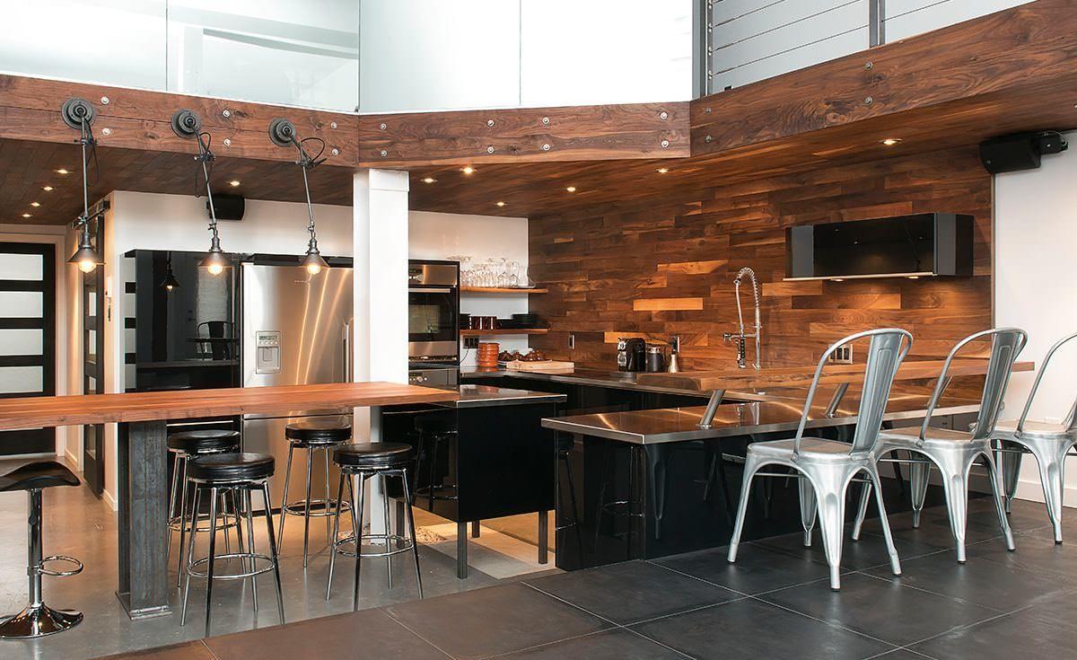 Armoire de cuisine en bois moderne for Cuisine type loft