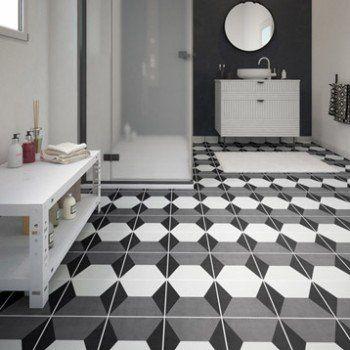 Carrelage sol et mur noir blanc effet ciment Dément l20 x L20 cm
