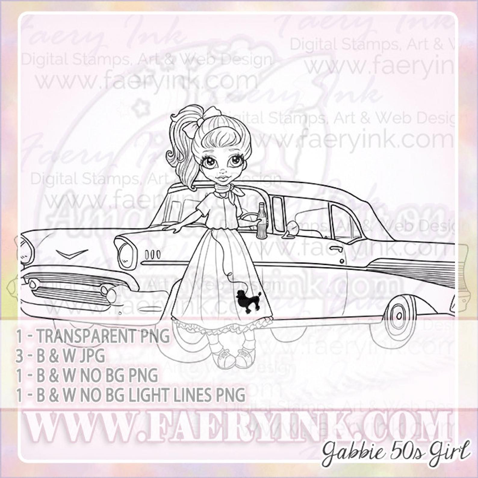 Items similar to 50s Poodle Skirt Girl Classic Car Diner UNCOLORED Digital Stamp Image Adult Coloring Page jpeg png jpg Craft Cardmaking Papercrafting DIY on Etsy