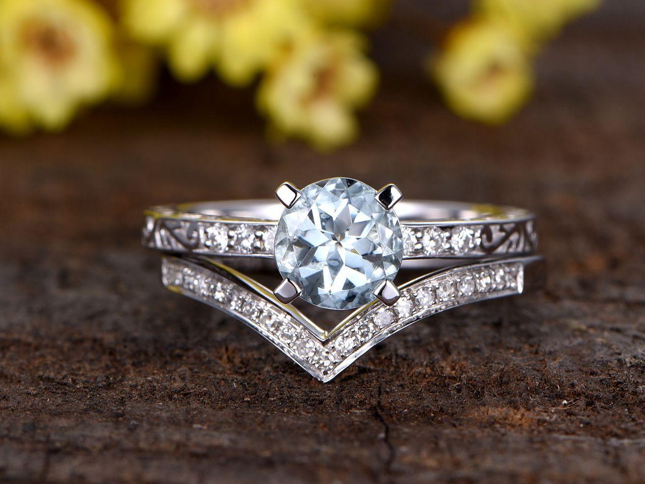 1 Carat Round Aquamarine Bridal Set Diamond Wedding Ring Filigree 14k White Gold Curve V Aquamarine Engagement Ring Halo Wedding Rings Sets Wedding Rings Halo