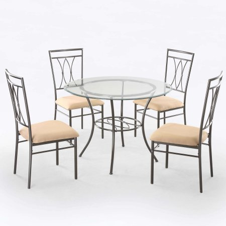 Home Home Glass Dining Set Metal Dining Table Round Dining