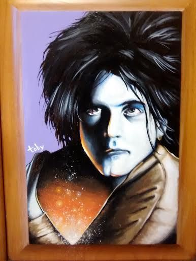toby stanger. Robert Smith | 200 | For Sale 12 x 16 Acrylic on Cabinet door | The Cure , what else needs to be said. If you don't like the Cure please stop being my friend. Haha Dec. 2015