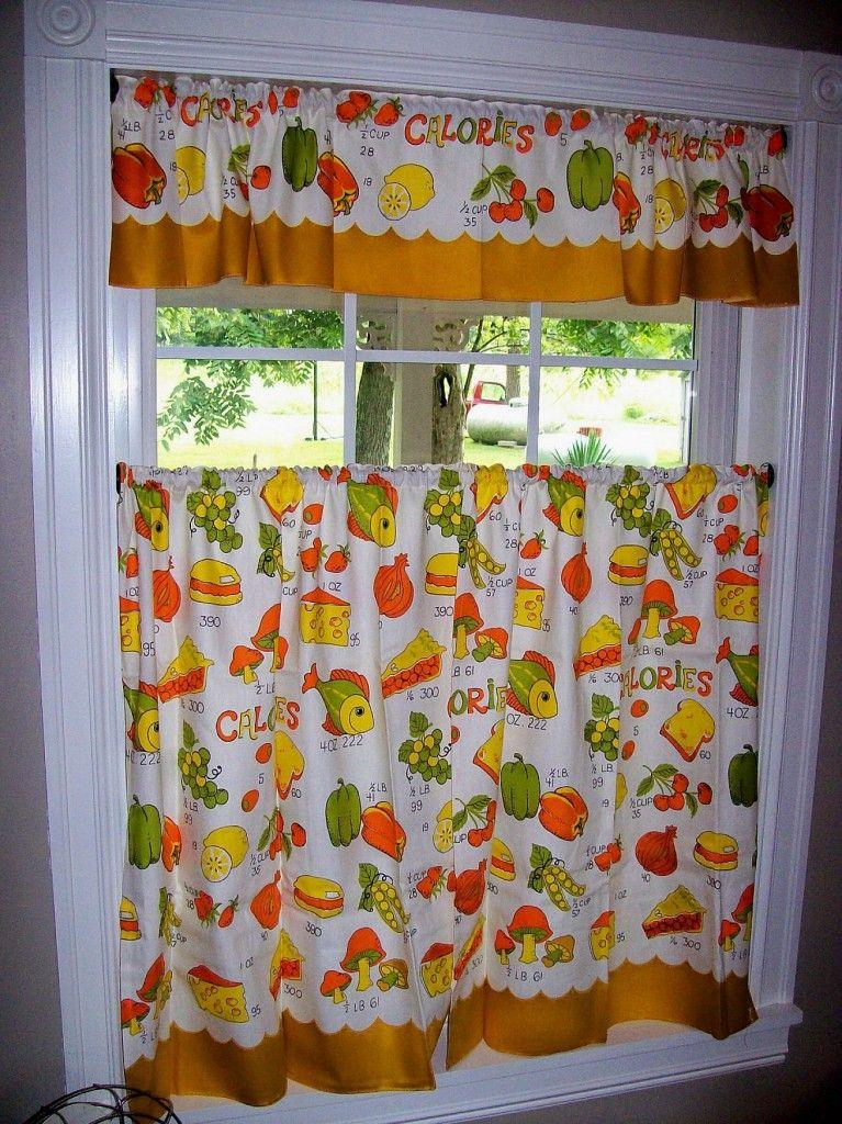 Vintage Curtains Kitchen Retro Fish Mushrooms Food Orange Yellow Green
