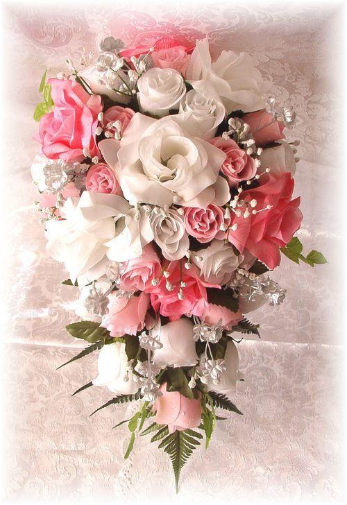 Silk Wedding Bridal Bouquet Flower Set PINK White Silver In Home Garden Supplies Flowers Petals Garlands
