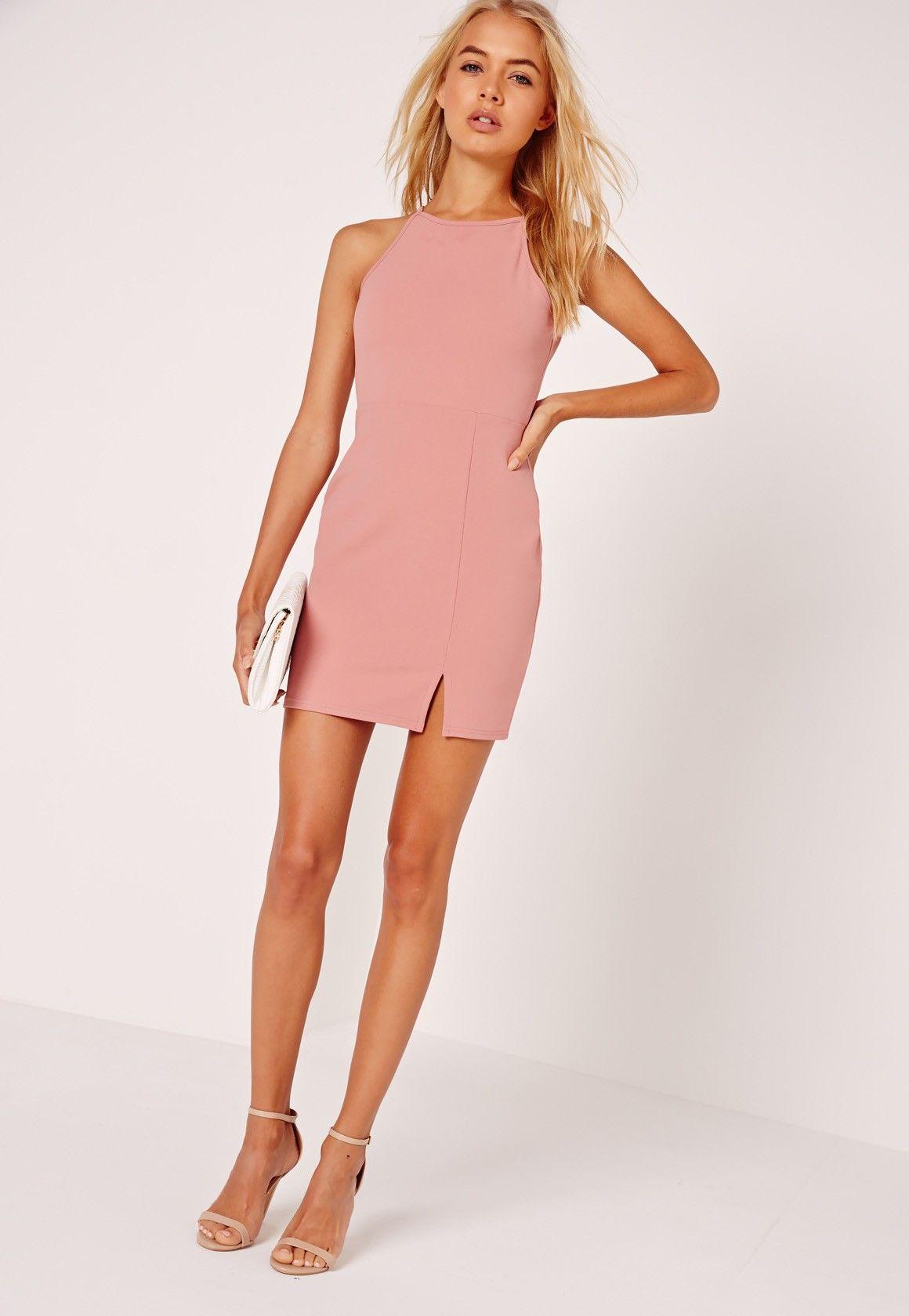 27b7e0c3b88d4 Missguided - Petite Square Neck Side Split Mini Dress Pink | Summer ...