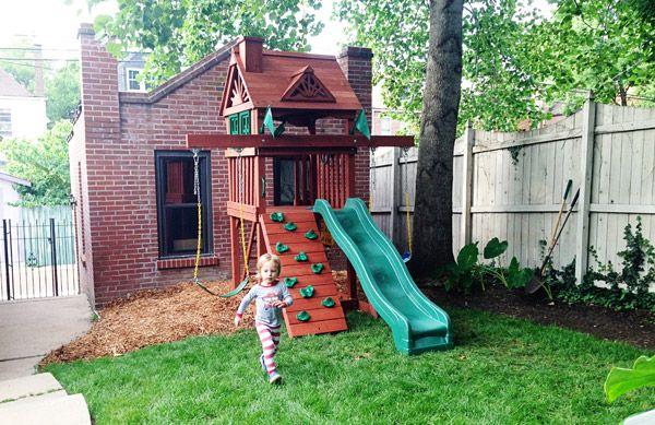 Sweet Small Yard Swing Set Solution Play Area Backyard