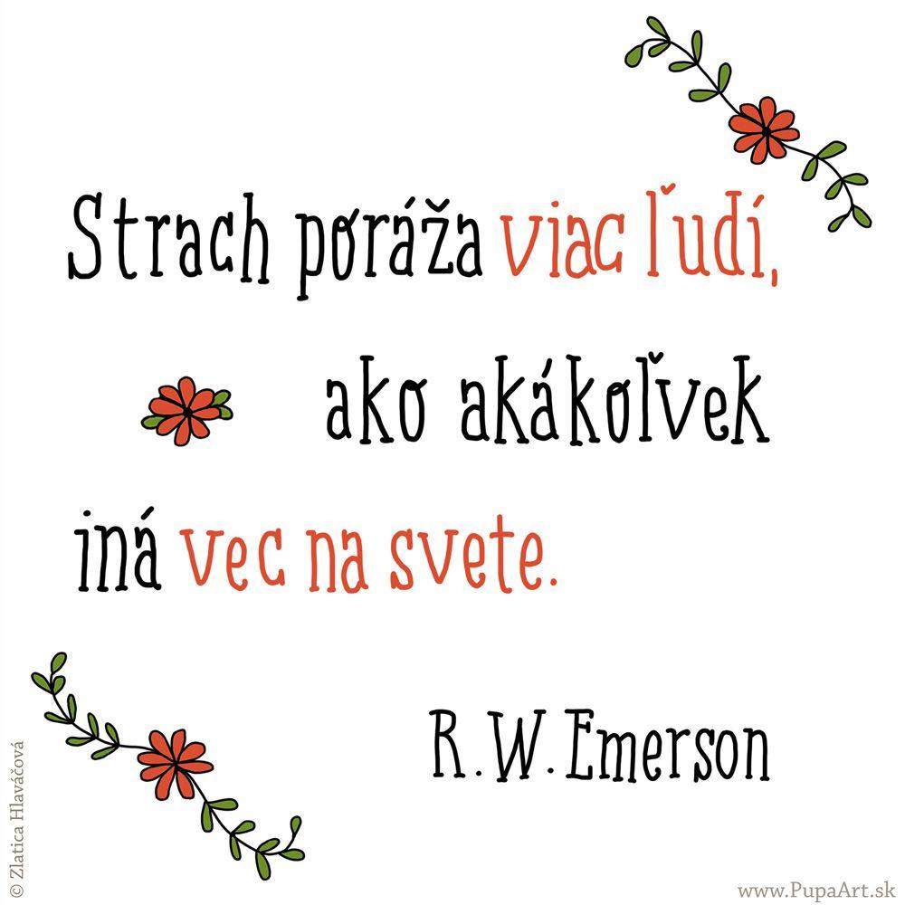 211/365 Strach poráža viac ľudí, ako akákoľvek iná vec na svete. R.W.Emerson