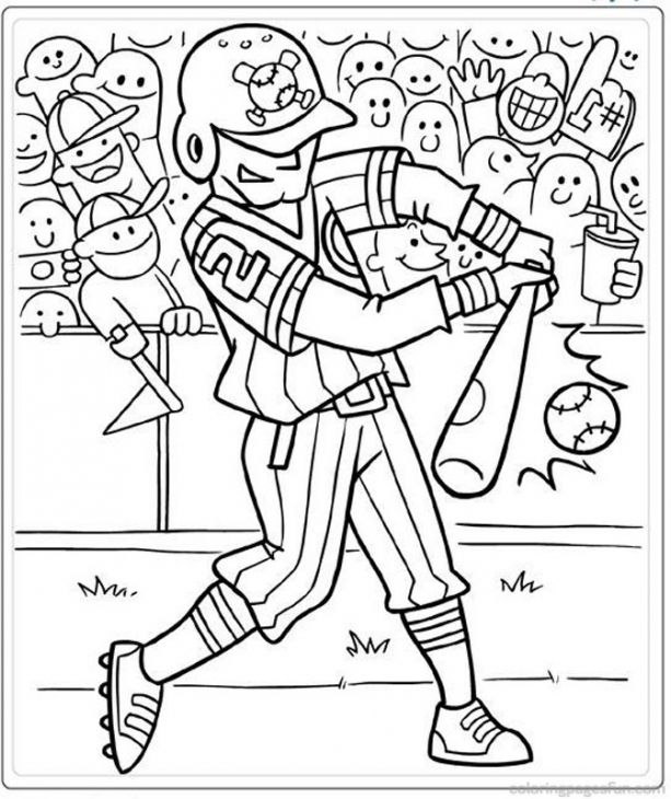 a hitter in baseball coloring page pritable - Sports Coloring Pages