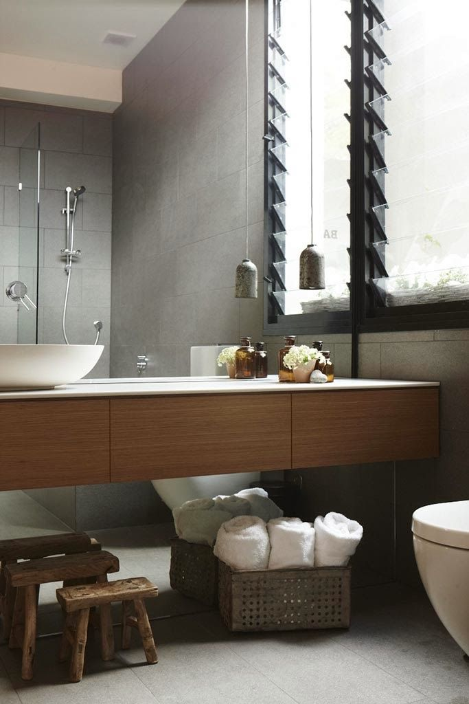 Floor To Ceiling Full Wall Mirror Floating Wood Vanity