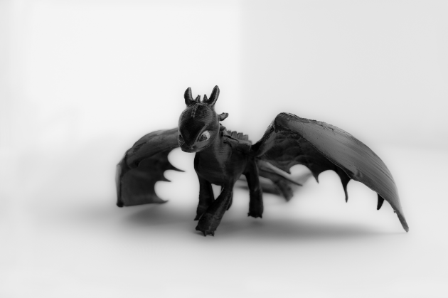 3d printed toothless in how to train your dragons by piscesinspire
