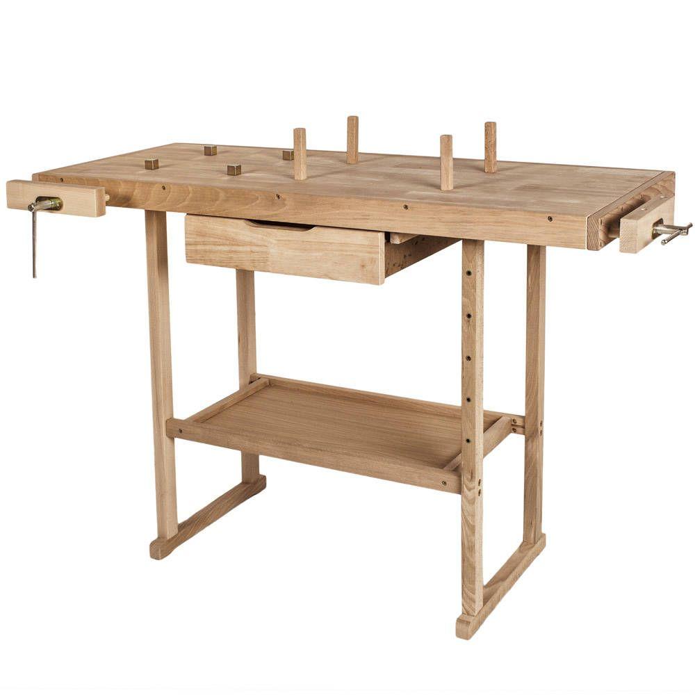 Holz Werkbank mit 2 Schraubstöcken 117 x 47,5 x 83 cm ...