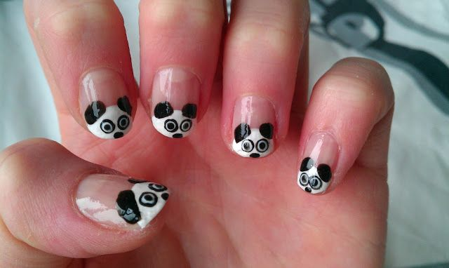 GirlsAndBeyond: Panda Nail-Art  I can't wait to try this for Livia's nails.