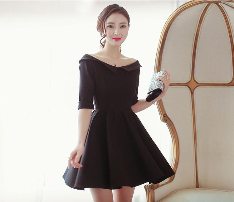 075c3772b05 2016 Spring Korean Fashion Women Boat Collar Off Shoulder Waist Black Mini  Dress
