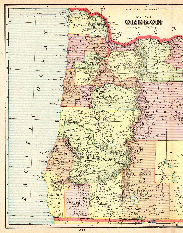 Vintage Oregon Map.1905 Antique Oregon Map Vintage Map Of Oregon State Map Gallery Wall