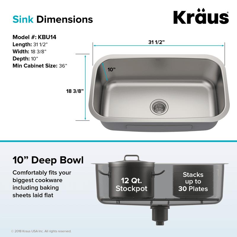 Kraus Kbu14 Sink Undermount Kitchen Sinks Stainless Steel Kitchen