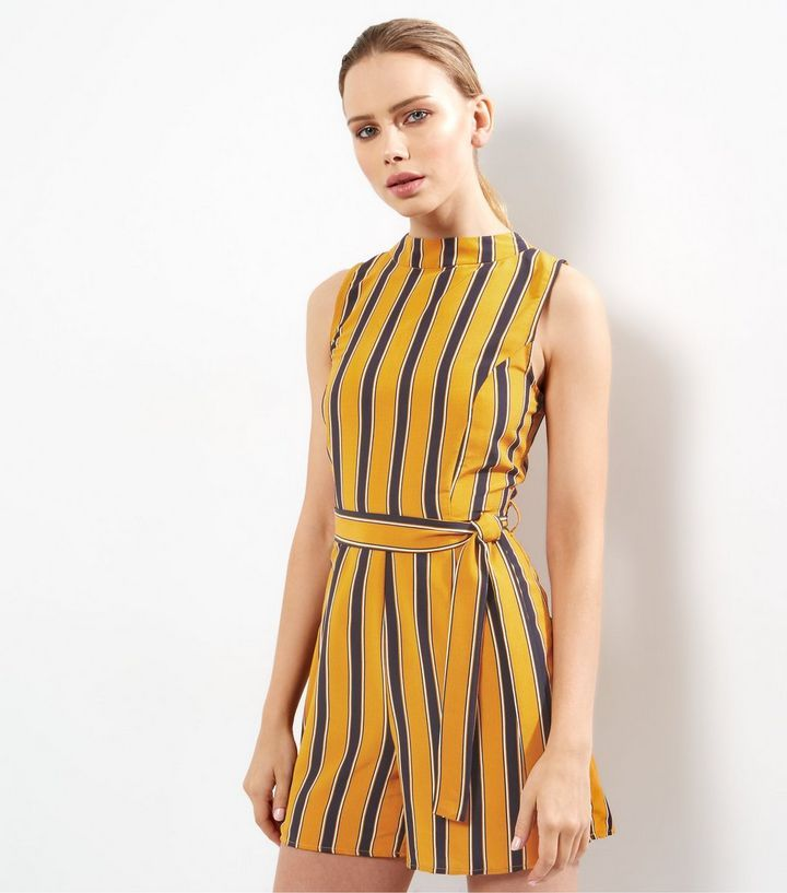 487d2f1d53 Yellow Stripe High Neck Sleeveless Playsuit