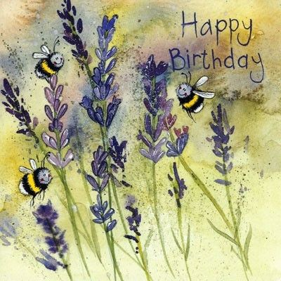 Sweet birthday card illustrated by Alex Clark with three honey bees buzzing round the summer lavender - £1.85