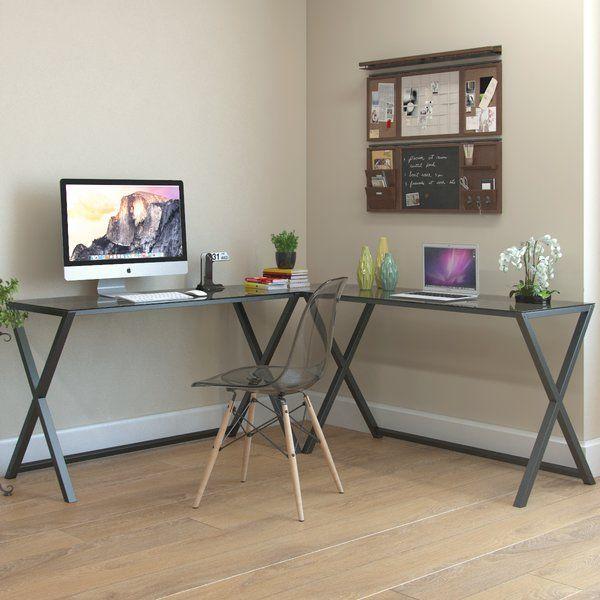 Odalis Glass L Shape Corner Desk In 2020 L Shaped Corner